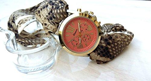 [Pink Large Face Chronograph Watch women Brown Snake print Silk Wrist Band Python Bracelet] (Custom Snake Eyes Costumes)