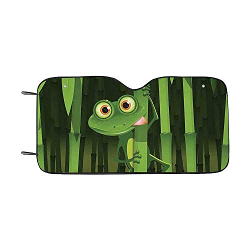 Animal Decor Durable Car Sunshade,Funny Illustration of Friendly Fun Frog on Stem of The Bamboo Jungle Trees Cute Nature Print for car,55