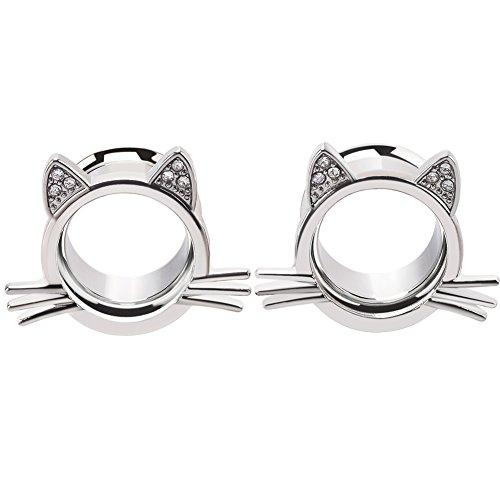 Longbeauty 2Pcs Silver Cute Kitten Ear Plugs Tunnels Gauges Stretcher Piercings in 3 Colors Gauge 1/2