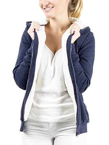 Damen Kapuzenpullover Hoodie Sweatjacke Kapuzenjacke Zipjacke Pullover Jacke mit Kapuze Übergangsjacke Sweatshirt Pulli Sherpa Fleece gefüttert Teddyfutter warm kuschelig weich flauschig blau Top-Qualität und Tragekomfort Größe L