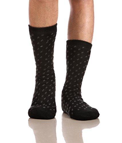 Eocom Men's Winter Warm Fuzzy Non Slip Slipper Socks Christmas Valentine's Day Gift Idea(Black)