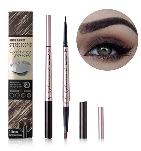 Long Lasting Waterproof Smudge-proof Duo Dual Head Eyebrow Pencil Automatic Precision Fine Point Tip Liner and Definer Brow Pencil in One! (#04 Khaki Coffee)