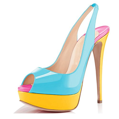Platform And Toe Blue Pumps Ubeauty Strap Court Paltform Dress Ankle Shoes Slingback High Peep Heel Womens Sandals Yellow aww0qZ5A