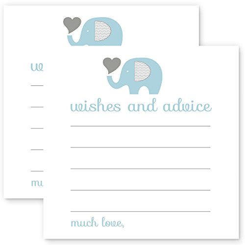 Elephant Wishes & Advice Cards Boys Baby Shower Blue & Grey 25pc.