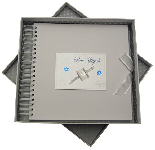 white cotton cards Bar Mitzvah Card and Memory Book Jewish Gift (Boys)