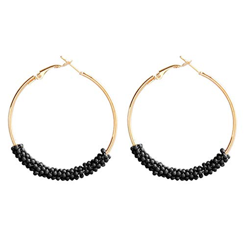 - Beaded Hoop Circle Geometric Dangle Earrings Drop Beads Chandelier Stud Earrings Women Girls Fashion Piercing Minimalist Wedding Bridal Tribal Bohemian Dangling Charms Jewelry 1 Pack Black