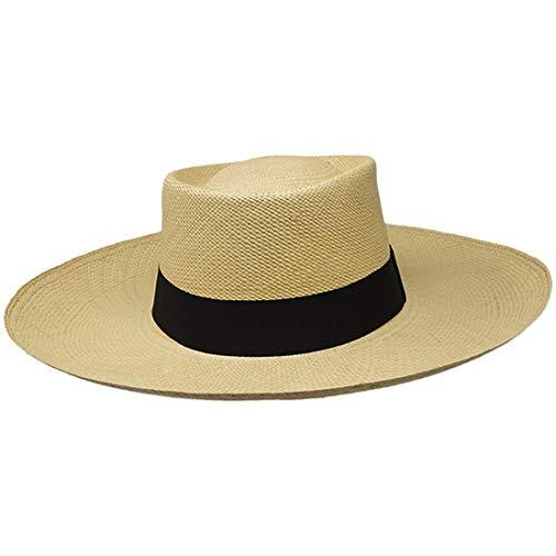 Gamboa Panama Hat - Gambler (Grade 3-4) Light Brown Wide Brim - X-Large