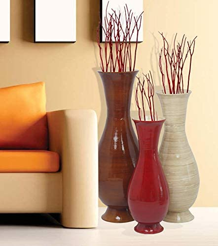 Uniquewise Qi003592 3 Tall Set Of 3 Tri Color And Sizes Modern Handmade Bamboo Floor Vase Brown Natural And Red Amazon Co Uk Kitchen Home