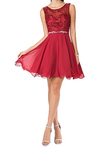 Ballkleider Summer Mini Chiffon Abendkleider Cocktailkleider Spitze Dunkel Kurzes Promkleider Braut Rot La mia Kleider Hundkragen AX4Pq8Hx