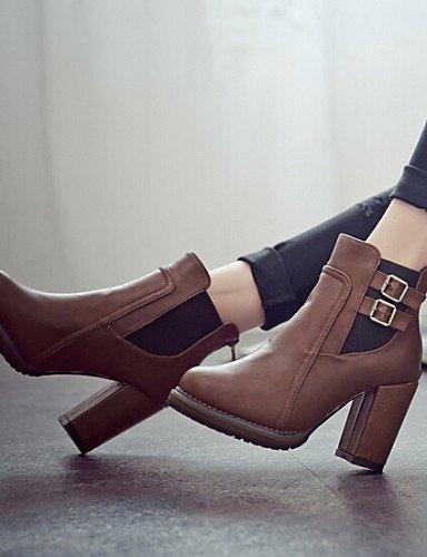 Tacones Botines Zapatos Mujer De Botas Tacón Brown Patentado Xzz us8 Robusto Eu39 Cn39 Negro Casual Cuero Uk6 Marrón dnwYXFqdE