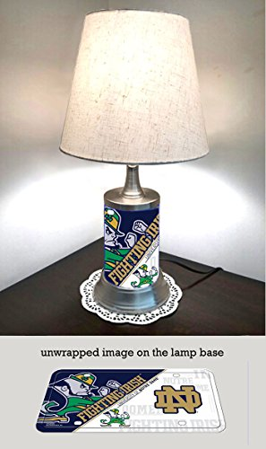 JS Table Lamp with shade, Notre Dame plate rolled in on the lamp base