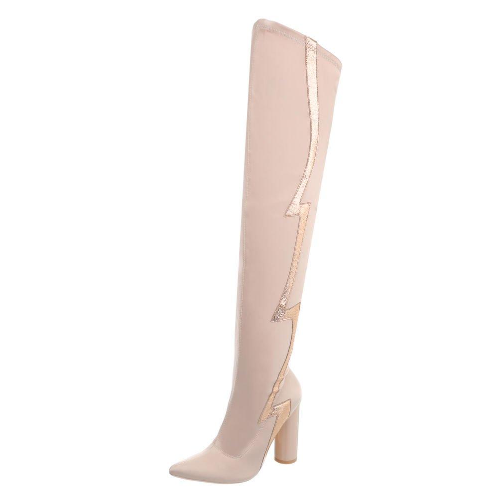 Ital-Design Chaussures Chaussures Femme Bottes Bottines et Bottines et Kitten-Heel Bottes Cuissardes Beige Rose Jr-010 e0ad11e - automaticcouplings.space