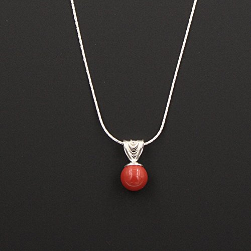 Swarovski Red Coral Pearl Pendant Necklace - Sterling Silver, Filigree Bail, 0.5 & 16-in Pearl Coral Pendant