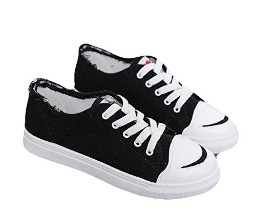 Ein bißchen Damen Studenten zuckerfarbe Sneaker Low Top Schuhe Canvas Textil Schwarz-A