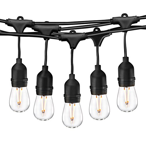 Cymas 49Ft LED Outdoor String Lights, Industrial Globe String Lights, 15 Edison Vintage Dimmable Bulbs, Weatherproof Connectable Strand for Porch Patio Garden Deck Bistro Cafe UL Listed – Black