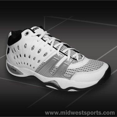 Prince Men's T22 Mid Tennis Shoe,White/Black/Silver,6.5 M US (T22 Shoe Tennis Prince)