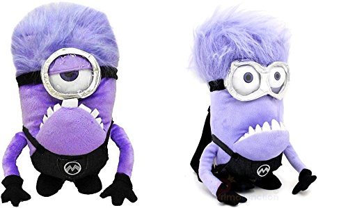Despicable Me 2 Purple Evil Stuart & Evil Tim Plush Backpack Bundle -