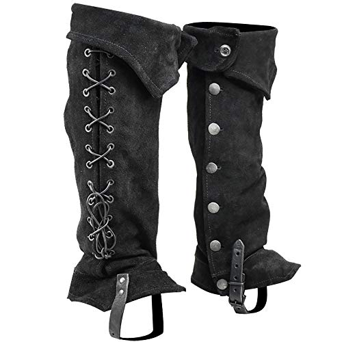 Mytholon Gabriel Suede Boot Gaiters Medieval Boot Toppers Renaissance Cosplay LARP (Black)