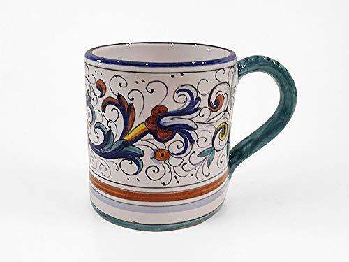 Hand Painted Ceramic Mug - Hand Painted Italian Ceramic Mug Ricco Deruta Blu - Handmade in Deruta Italy
