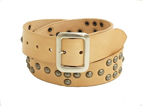 Sugar Cane Studded Leather Belt SC02321 Men's Casual Beige (32) by Sugar Cane