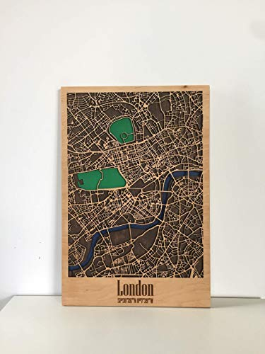 - Fathers Day gift Wooden Framed City Map of London USA or any other city Decor Picture Laser Cut Wall Poster Art Wood Handmade Light (40x60 cm (15.7x23.6