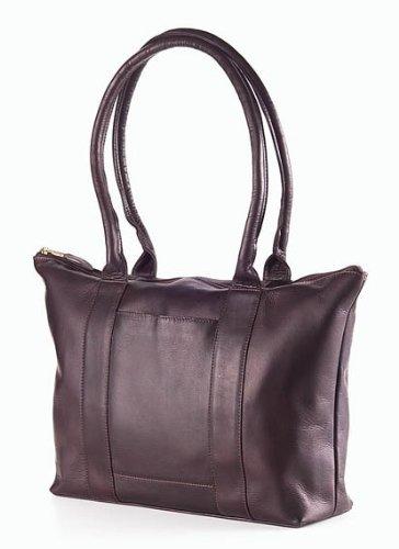 (Clava Leather-Vachetta Zip Top Shopper Tote in Cafe)