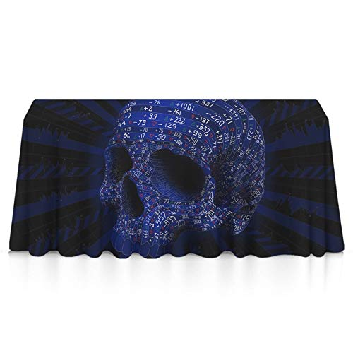 Wrinkle Free Spillproof Rectangular Table Cloths - Digital Addition and Subtraction Skull Seasonal Decor, Square Or Round Tables Table Cloths for Catering Events, Celebrations