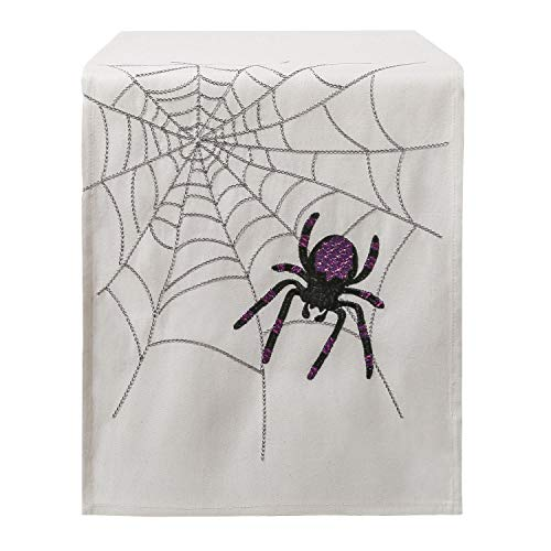 Phantoscope Decorative 100% Polyester Halloween Off-White Table Runner with Purple Spider for Kitchen 14