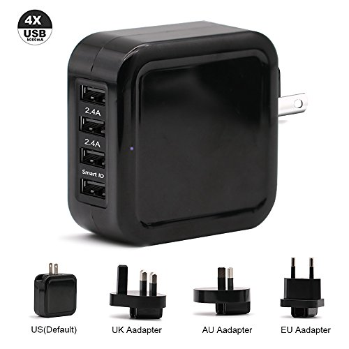 TJ8 25W USB Travel Power Adapter,Portable 5A 4-Port Universal Wall Charger with US UK EU AUS Plug/SmartID Technology for iPhone,iPad,Samsung Galaxy,Nexus,Tablets and Android Smartphone (black) by TJ8