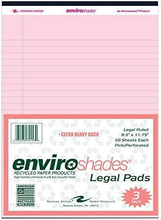 "Roaring Spring Enviroshades Recycled Legal Pads, 3 Pack, 8.5"" x 11.75"" 50 Sheets, Pink"