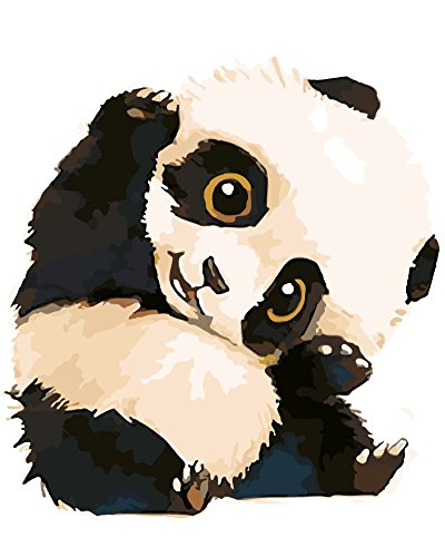 Wowdecor Paint by Numbers Kits for Adults Kids, Number Painting - Panda Baby 16x20 inch (Frameless)