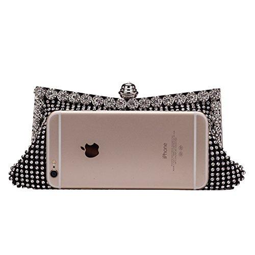 CLOCOLOR Bolso de Mano con Diamantes Cristales Brillantes Cartera de Mano Bolso de Boda Fiesta Partido Bolso de Noche Elegante para Mujer 22*6*10cm Negro