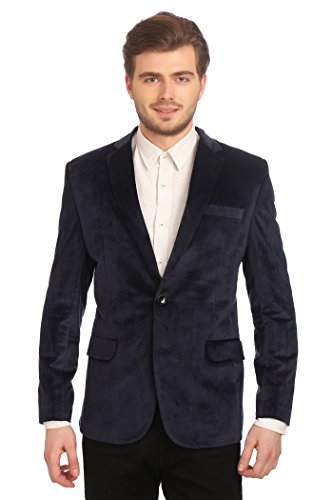 - Wintage Men's Velvet Two Buttoned Notch Lapel Party Navy Blue Coat Blazer-Medium