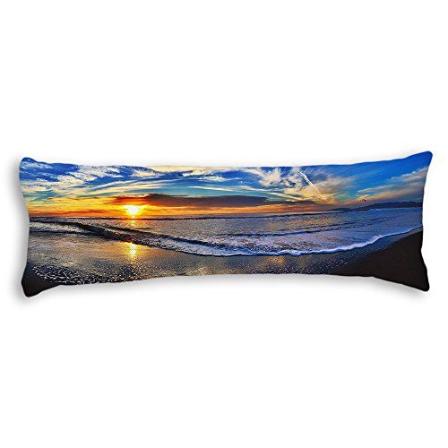 JessPad Body Pillowcases Beautiful Sunset Beach Polyester Body Pillow Cover no Zipper 20 x 54 ()