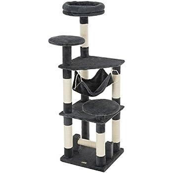 "Ollieroo 52""H Cat Tree Tower Condo Furniture Scratching Post House Three Layers Kitten Condo Pet House (Dark Grey)"