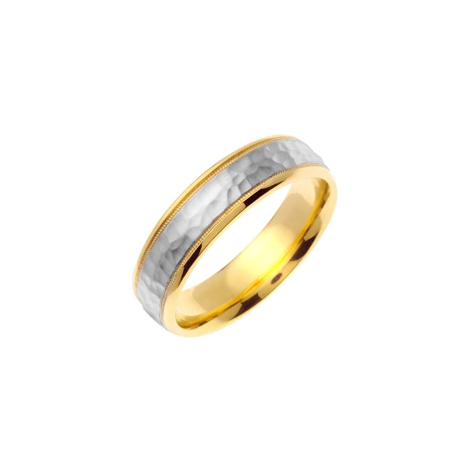7mm Solid 14K White & Yellow Gold Two Tone Hammered Texture Milgrain Wedding