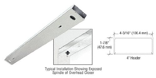 CRL Brushed Stainless Steel 72'' x 4'' Double Door Header - DCH4BSD