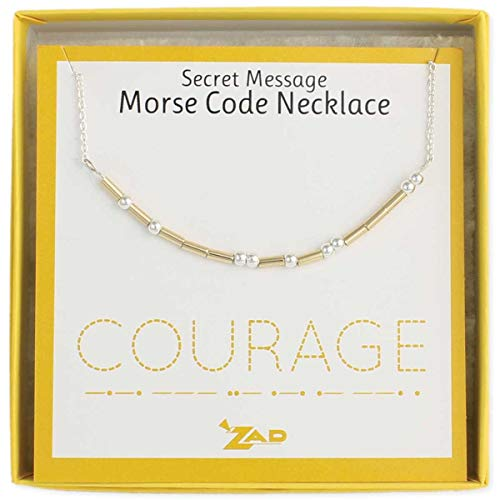 (Zen Styles Morse Code Necklace of 'COURAGE' - Inspirational Jewelry Secret Message Box Chain Necklace, Two-Tone, Adjustable 16