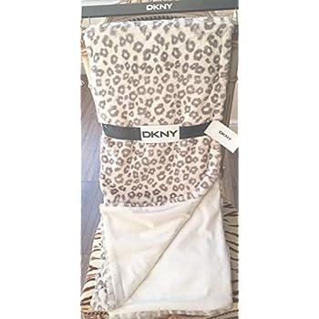 Amazon Com Dkny Plush Leopard Faux Fur Reversible Throw