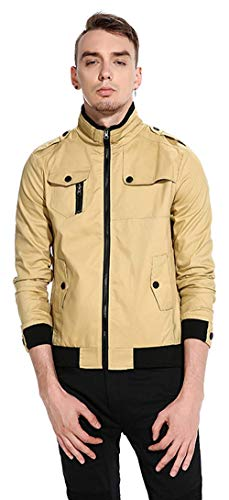 Unisex Hip Hop Urban Harrington Chaqueta Bomber Basic Simple Estilo Jacket Chaquetas De Béisbol Long Sleeve Outerwear (Color : 5-Khaki, Size : 2XL)