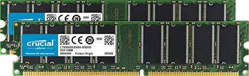 (Crucial 2 GB Kit (2 x 1GB) DDR PC3200 UNBUFFERED NON-ECC 184-PIN DIMM)
