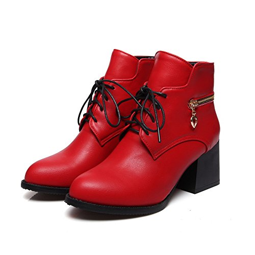 Allhqfashion Women's Kitten-Heels Soft Material Low-Top Solid Lace-up Boots Red FaVcn