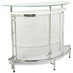 Home Bar Cabinetry Coaster CO-101066 Bar Unit, 20″W x 50.75″L x 41″H, Chrome and Clear home bar cabinetry