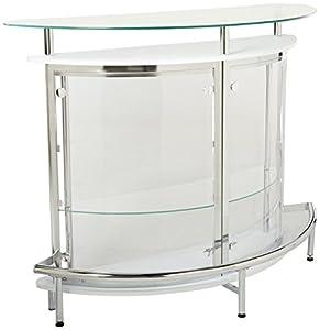 Amazon Com Coaster Contemporary Tempered Glass White Bar