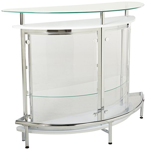 Bar Unit with Acrylic Front White, Chrome and Clear (Glass Cabinets For Room Living)