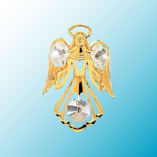 24K Gold Plated Suction Cup Angel With Open Arms, Clear Crystals Angel 24k Gold Plated