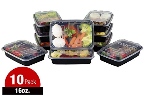 Meal Prep Containers - 16oz 10pk 10 Count Black