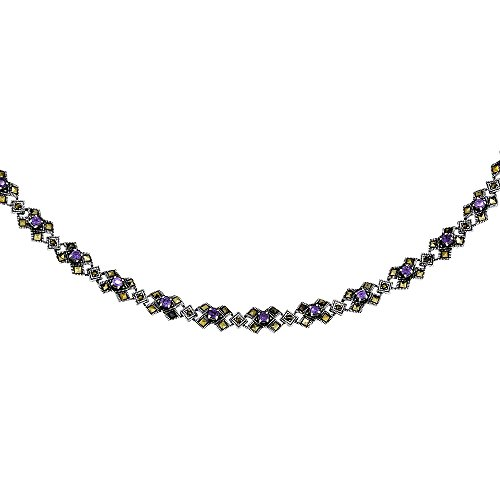 Sterling Silver Cubic Zirconia Amethyst Kiss Necklace, 16 inches long by Sabrina Silver