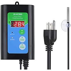 Zacro Digital Heat Mat Thermostat -Temperature Controller for Reptiles, Seedings,Fermentation 41-108°F, Black