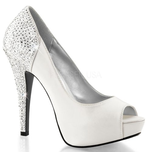 Satin Toe Ivory Rhinestones Pump Platform Heel with Peep on Silk Fabulicious HwAxqv6E